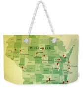 Wisconsin Map Square Cities Straight Pin Vintage Weekender Tote Bag