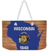 Wisconsin Rustic Map On Wood Weekender Tote Bag