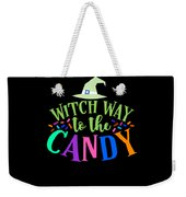Witch Way To The Candy Halloween Funny Humor Colorful Weekender Tote Bag