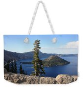 Wizard Island With Rock Fence At Crater Lake Weekender Tote Bag