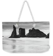 Wizard's Hat Sea Stack - Black And White Weekender Tote Bag