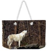 Wolf Howling In Forest Weekender Tote Bag