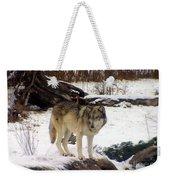 Wolfe In Winter Snow Weekender Tote Bag