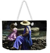 Woman And Child At Pond Weekender Tote Bag