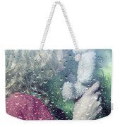 Woman And Teddy Weekender Tote Bag