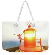 Woman At Nazare Lighthouse Weekender Tote Bag