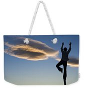 Woman Balancing On A Fence Post Weekender Tote Bag