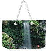 Woman Beneath Waterfall Weekender Tote Bag