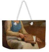 Woman Carding Wool Weekender Tote Bag