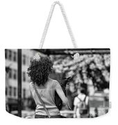 Woman Carry Dog Nyc Blk Wht  Weekender Tote Bag