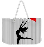 Woman Dancing In The Rain With Red Umbrella Weekender Tote Bag