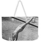 Woman Doing A Back Dive Weekender Tote Bag