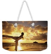 Woman Doing Yoga On Golden Beach Weekender Tote Bag