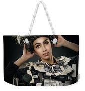 Woman Dressed In Price Tag Weekender Tote Bag