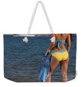 Woman Getting Ready To Go Snorkeling Weekender Tote Bag