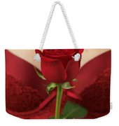Woman Holding A Red Rose Weekender Tote Bag