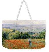 Woman In A Poppy Field Weekender Tote Bag