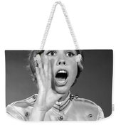 Woman In Bell Hop Outfit Calling Out Weekender Tote Bag