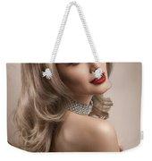 Woman In Big Curls Hollywood Glam Look Weekender Tote Bag