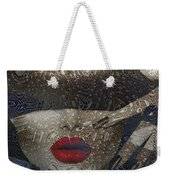 Woman In Blue Red Passion Weekender Tote Bag