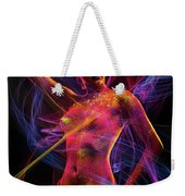 Woman In Colorful Body Paint With Light Streaks Weekender Tote Bag