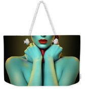 Woman In Cyan Body Paint With Curly Hairstyle Weekender Tote Bag