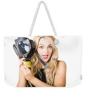 Woman In Fear Holding Gas Mask On White Background Weekender Tote Bag by Jorgo Photography - Wall Art Gallery