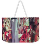 Woman In Front Of A Large Illuminated Window Weekender Tote Bag