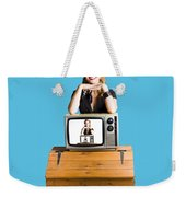 Woman  In Front Of Tv Camera Weekender Tote Bag by Jorgo Photography - Wall Art Gallery