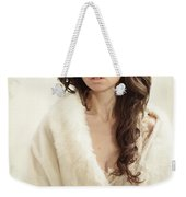 Woman In Fur Wrap Wearing Crown Weekender Tote Bag