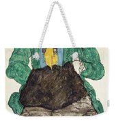 Woman In Green Blouse With Muff Weekender Tote Bag