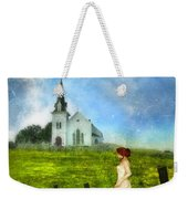 Woman In Lace By A Country Church Weekender Tote Bag