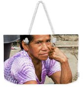 Woman In Market Weekender Tote Bag by Allen Sheffield
