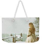 Woman In Snow Scene Weekender Tote Bag