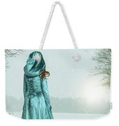 Woman In Snowy Landscape Weekender Tote Bag