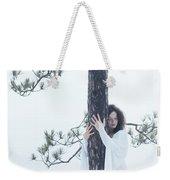 Woman In White Dress Hugging A Tree Weekender Tote Bag