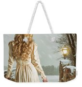 Woman In Winter Scene Weekender Tote Bag