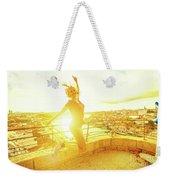 Woman Jumping At Oporto Weekender Tote Bag