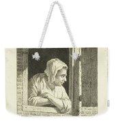 Woman Leaning On Arms In Window Opening Weekender Tote Bag
