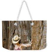 Woman Leaning On Giant Sequoia Tree Weekender Tote Bag