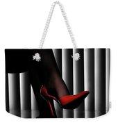 Woman Legs In Red Shoes Weekender Tote Bag
