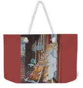 Woman Looking Out Of A Window Weekender Tote Bag
