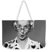 Woman Looking Over Her Glasses Weekender Tote Bag