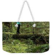 Woman On A Moss Covered Log In Olympic National Park Weekender Tote Bag