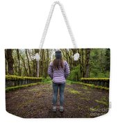Woman On An Old Moss Covered Bridge In Olympic National Park Weekender Tote Bag