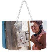 Woman On The Phone Weekender Tote Bag