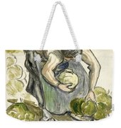 Woman Picking Cabbage Weekender Tote Bag