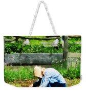 Woman Planting Garden Weekender Tote Bag