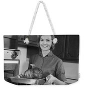 Woman Removing Roast From Oven, C.1960s Weekender Tote Bag