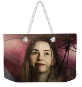 Woman Resilient In Storm Through Positive Thinking Weekender Tote Bag